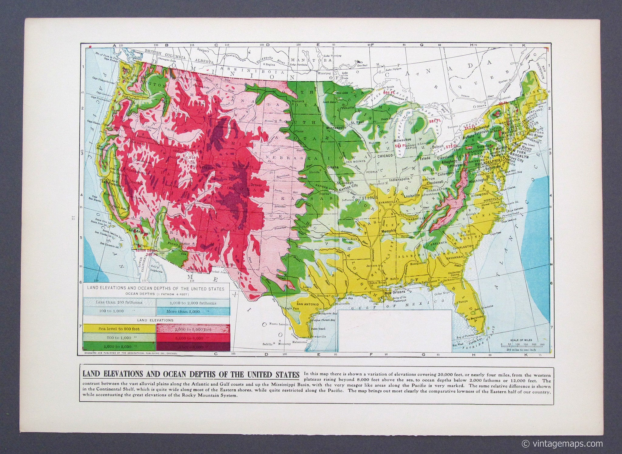 United States (U.S.) Elevations - Vintage Maps