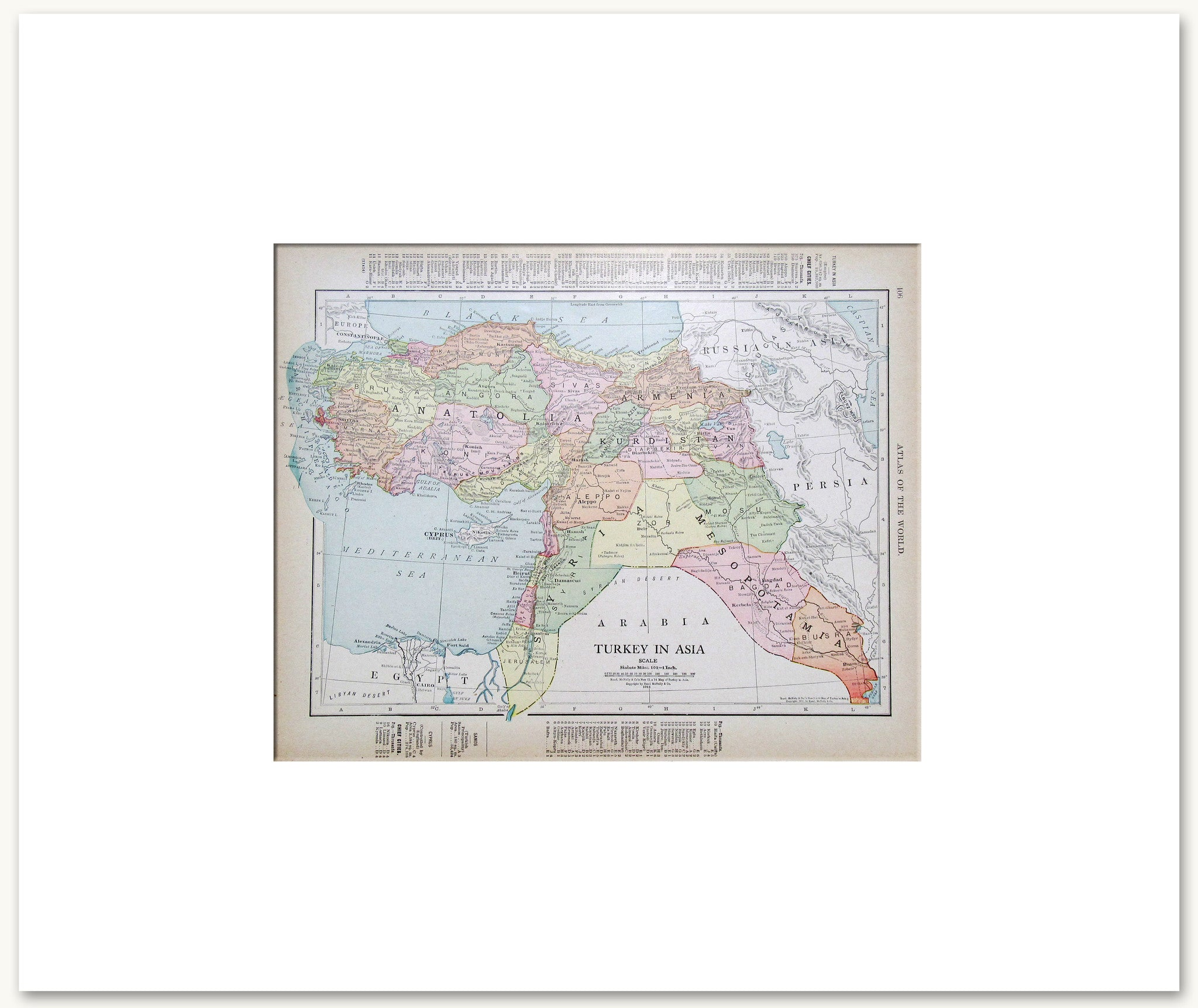 Countries Middle EastCentral Asia Vintage Maps - Us photo map mat