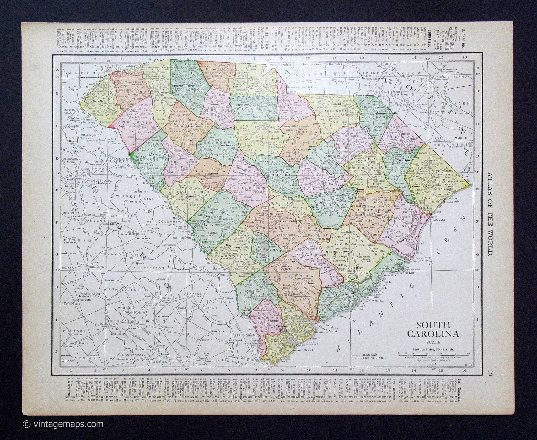 South Carolina State Map With Counties And Cities.South Carolina 1914 Vintage Maps