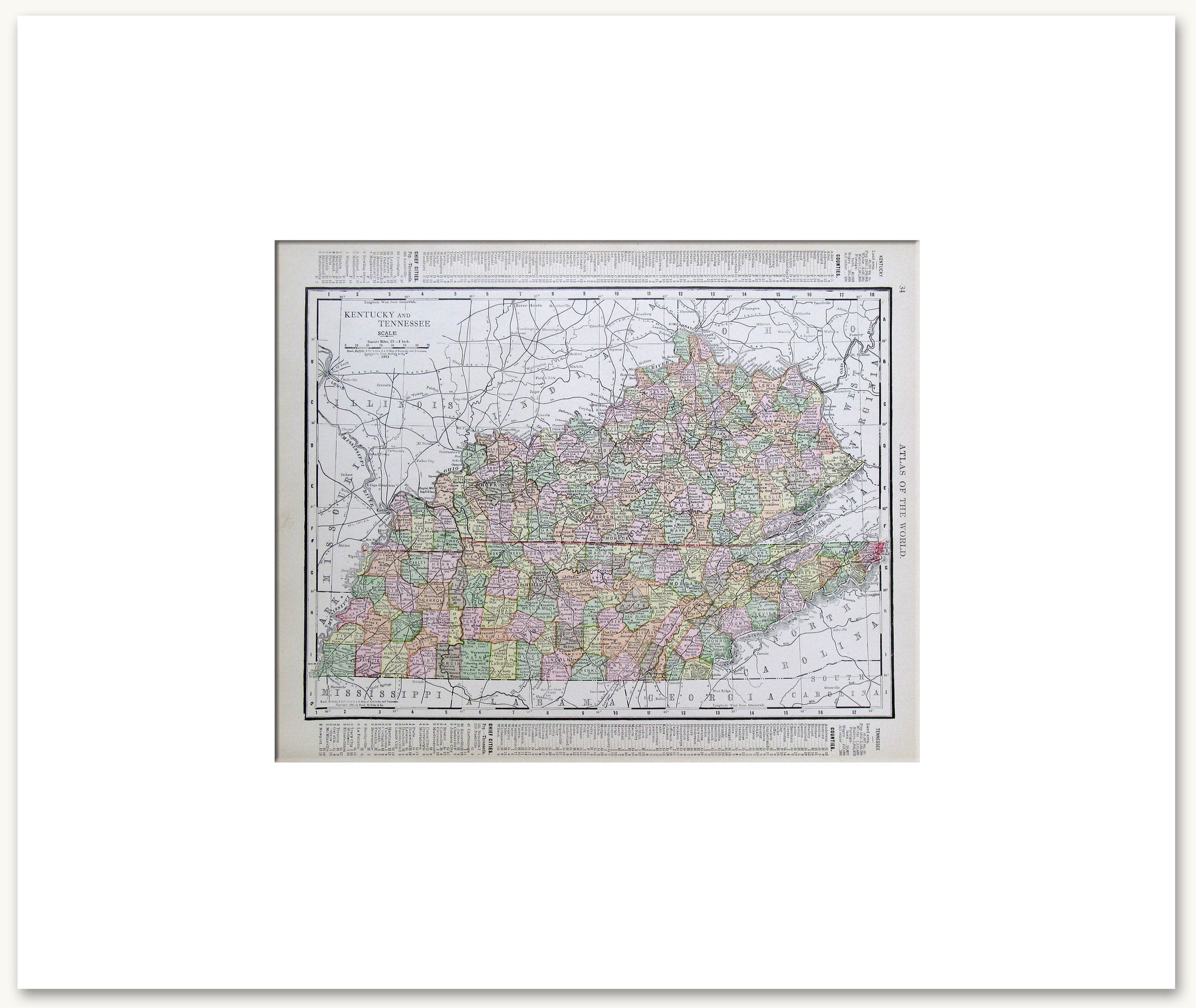 image relating to Printable Map of Tennessee Counties called Kentucky-Tennessee 1914