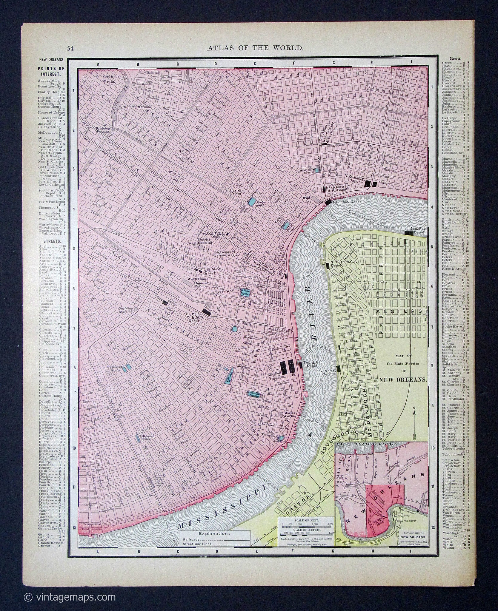 Antique New Orleans Map.New Orleans 1895