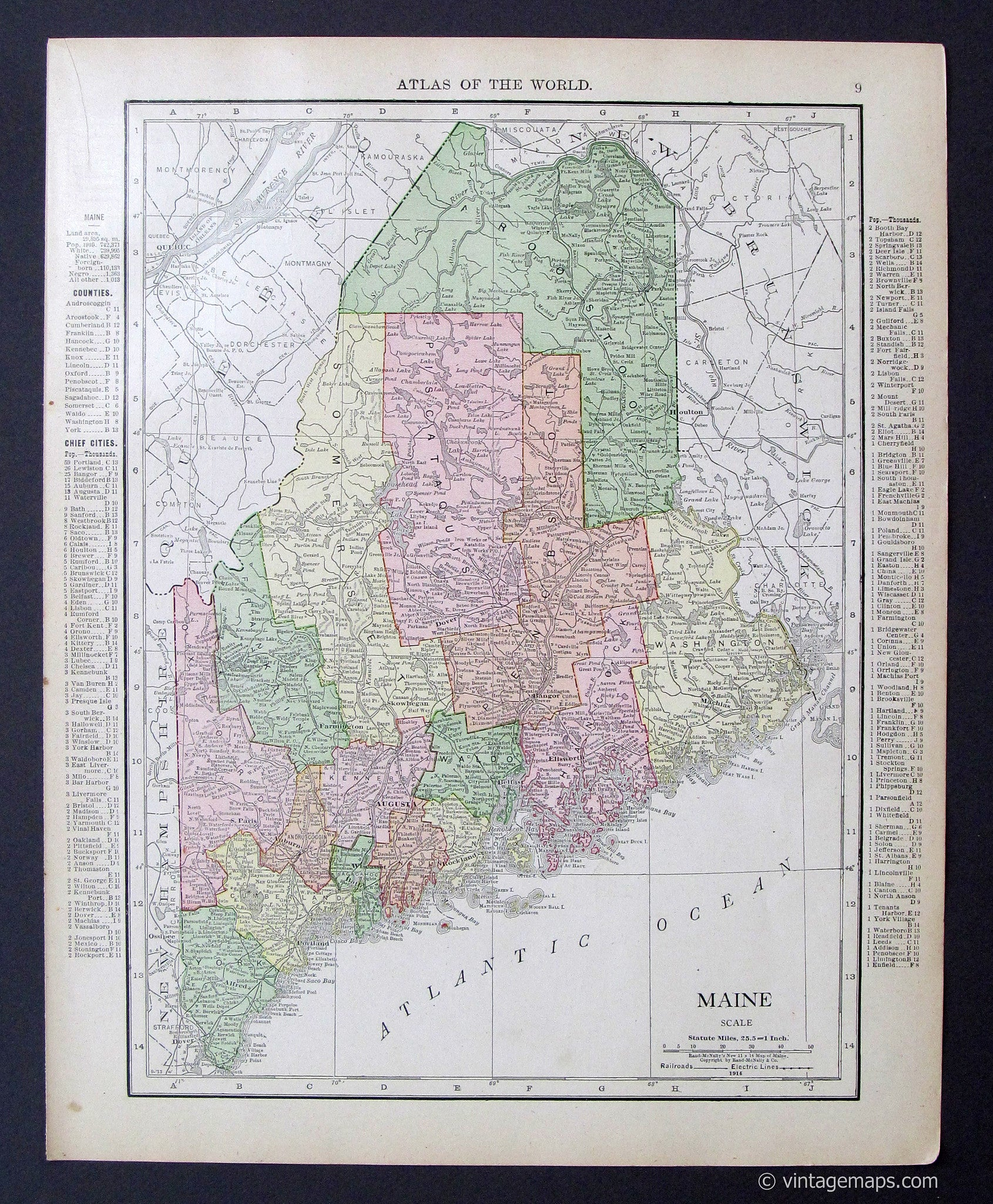 Jefferson Maine Map.Maine 1914 Vintage Maps