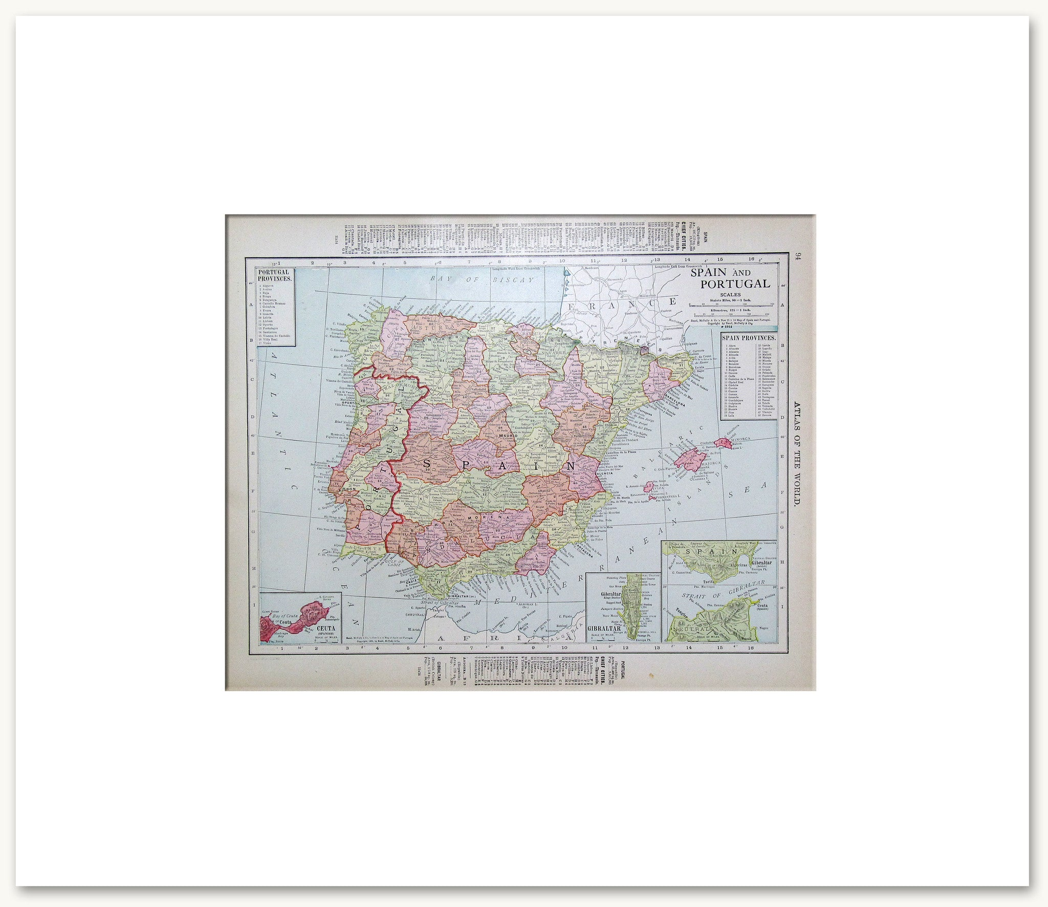 Countries Europe Vintage Maps - Portugal map to print