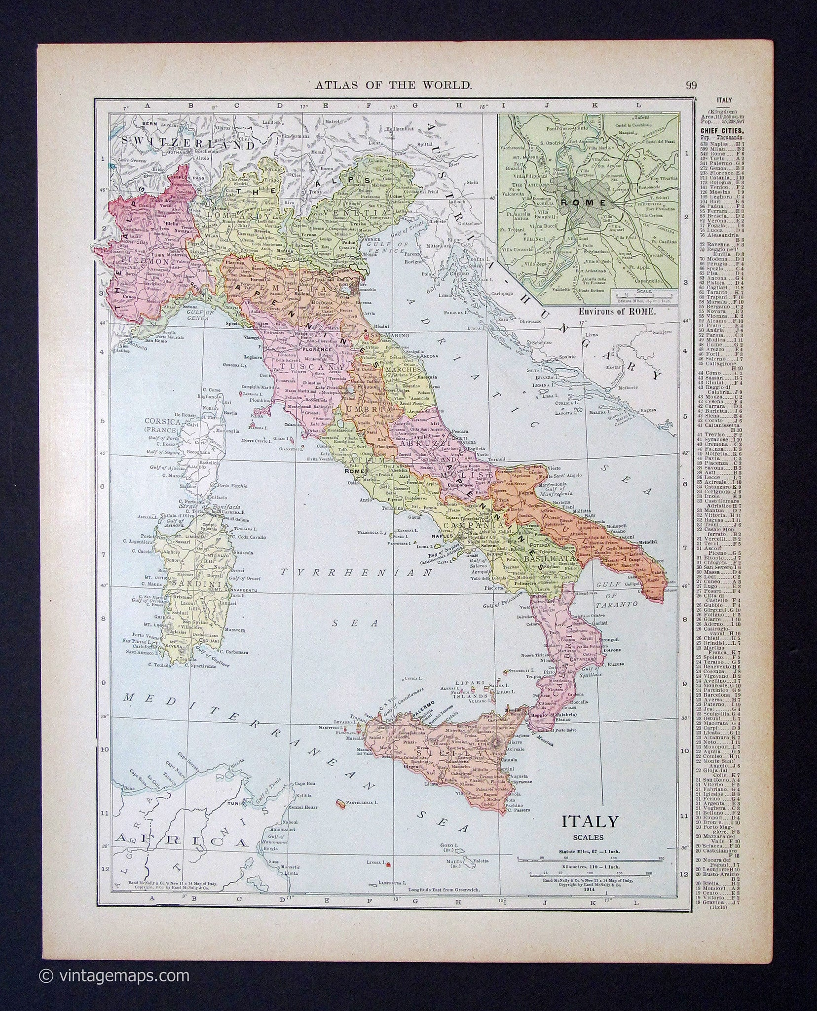 Areas Of Italy Map.Italy 1914