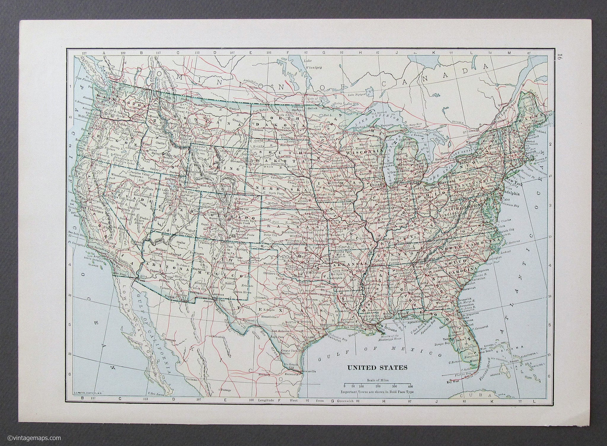United States Map Picture Frame.United States 1933 Vintage Maps