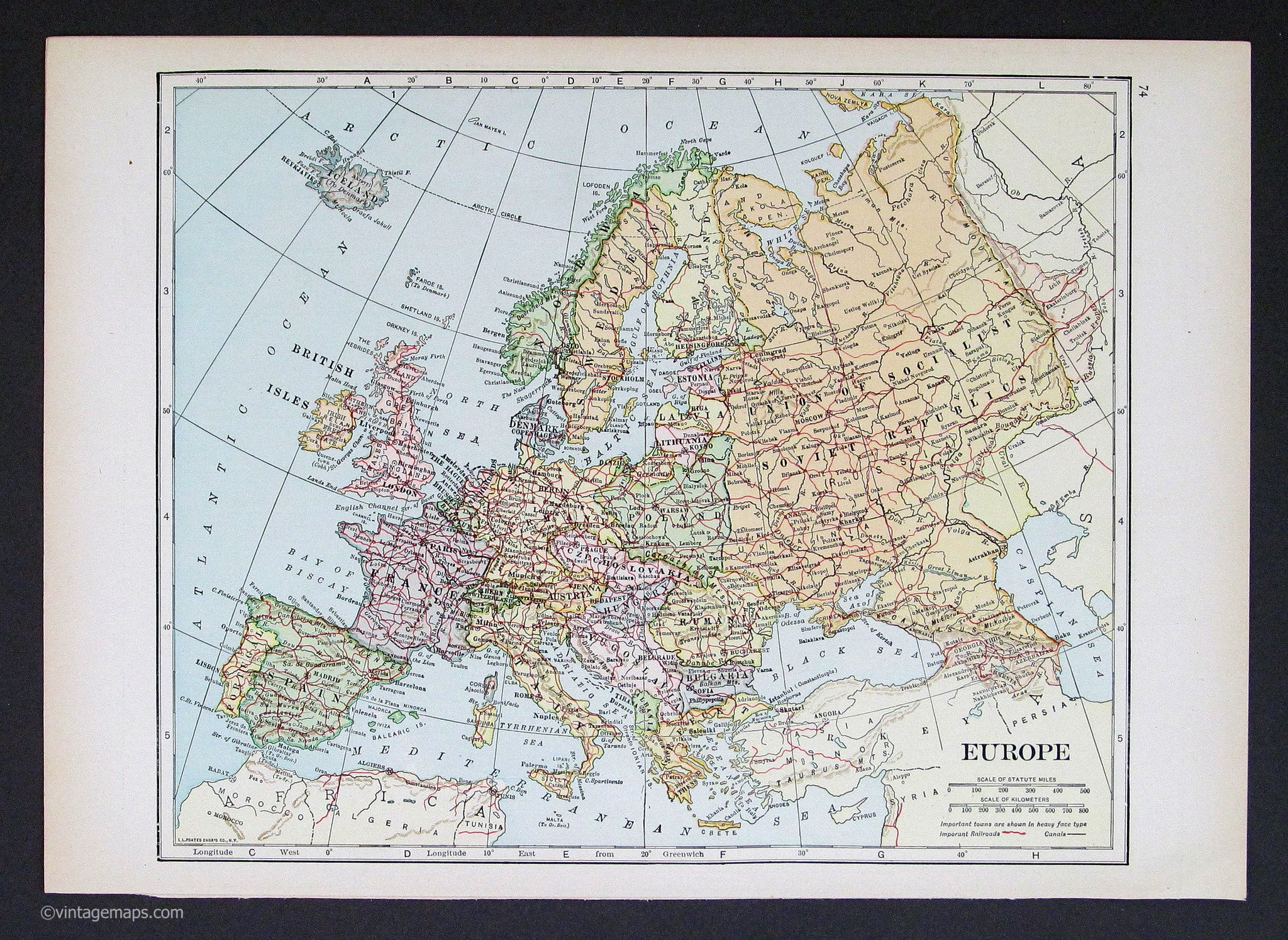 Image of: Europe 1933 Vintage Maps