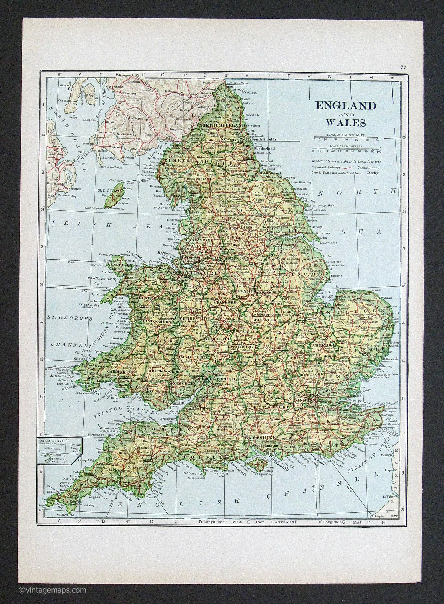 Map Of England And Wales With Cities.England And Wales 1933