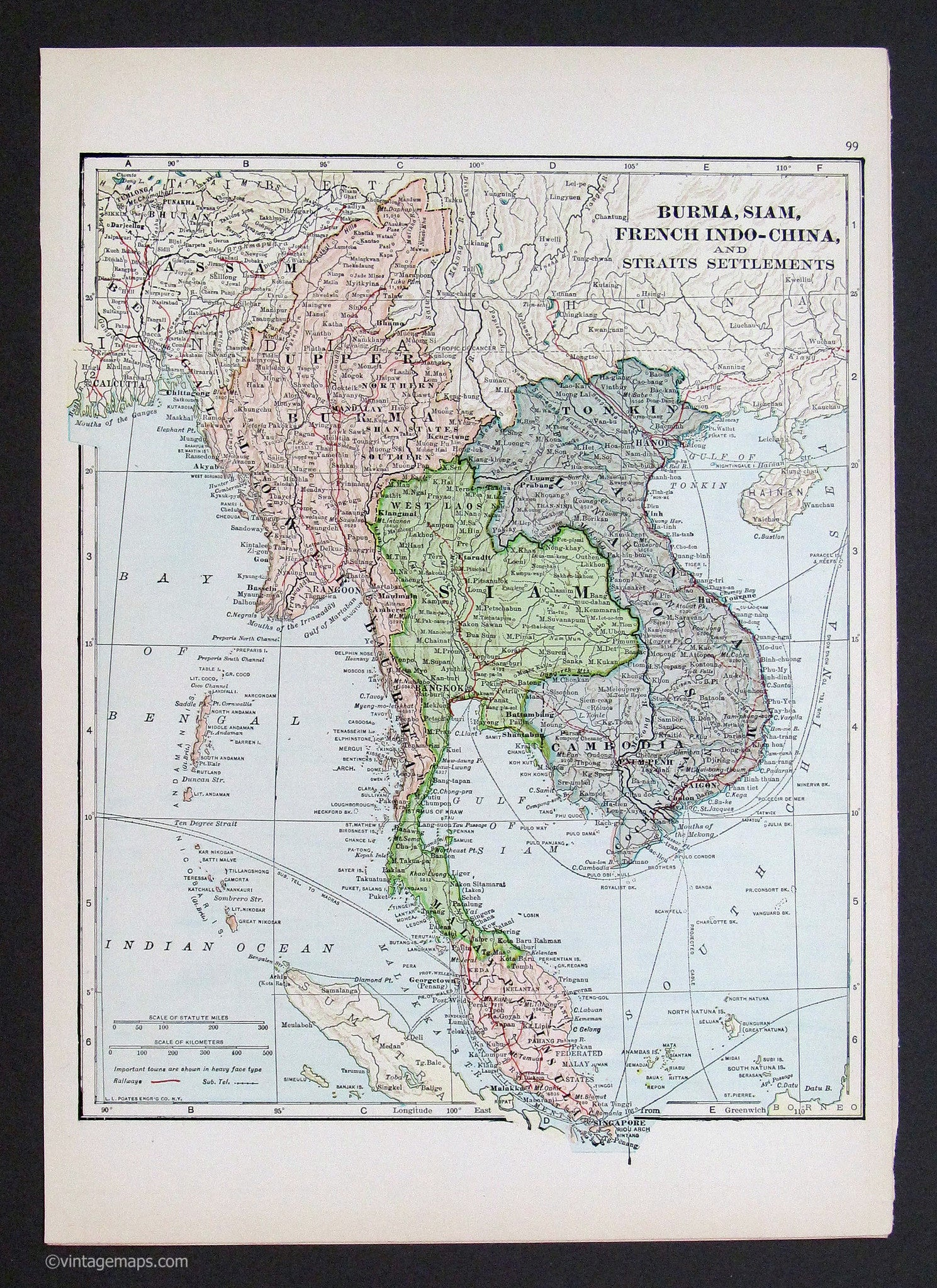 Burma siam french indo china vietnam 1933 vintage maps old burma siam french indo china vietnam map gumiabroncs Images