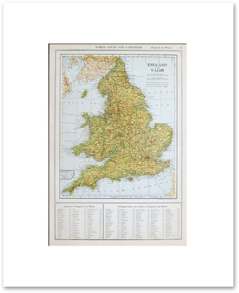 Map Of England And Wales With Cities.England And Wales 1921