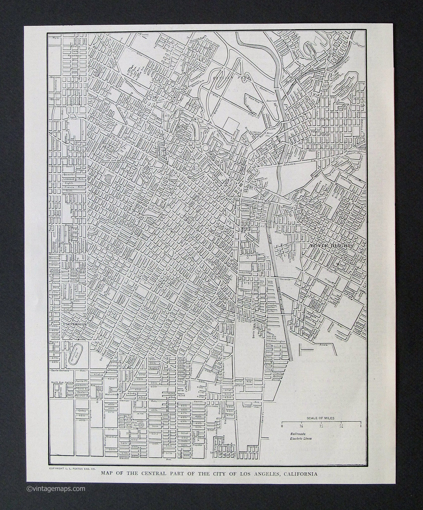 Black And White Maps Vintage Maps - Los angeles map vintage