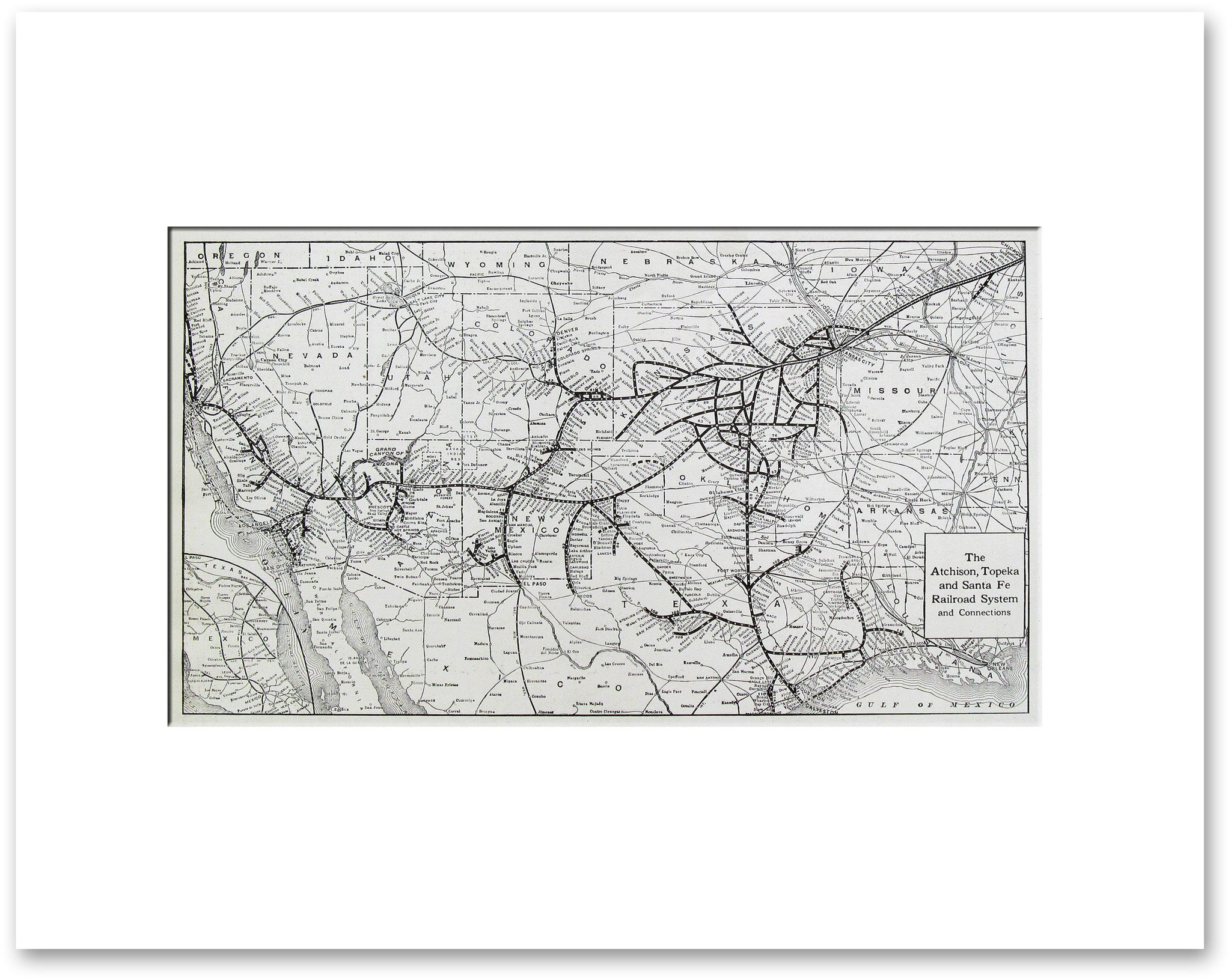 Atchison Topeka And Santa Fe Railroad System Vintage Maps - Atchinson topeka and santa ferailroad on the us map
