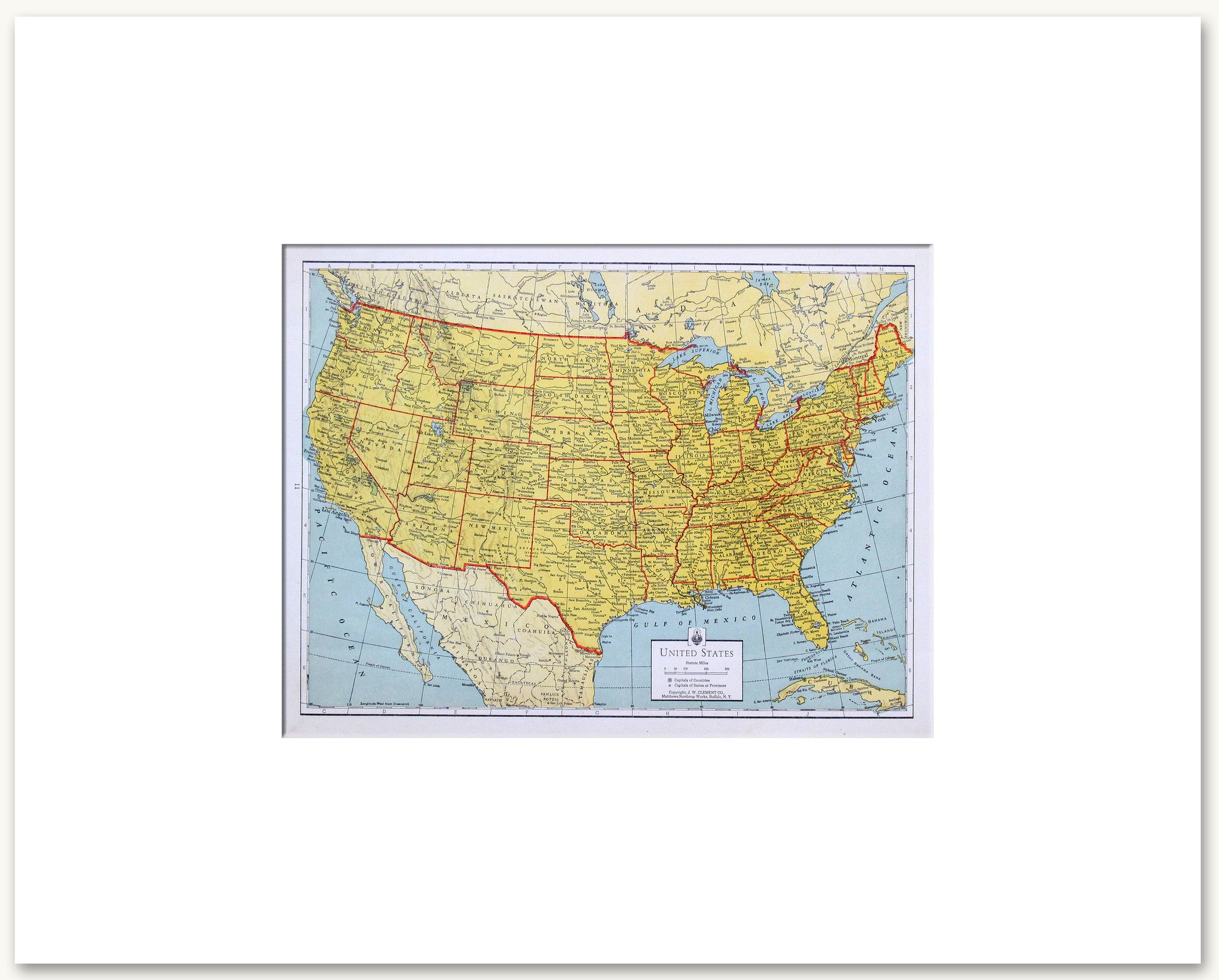 United States Vintage Maps - United states map picture frame