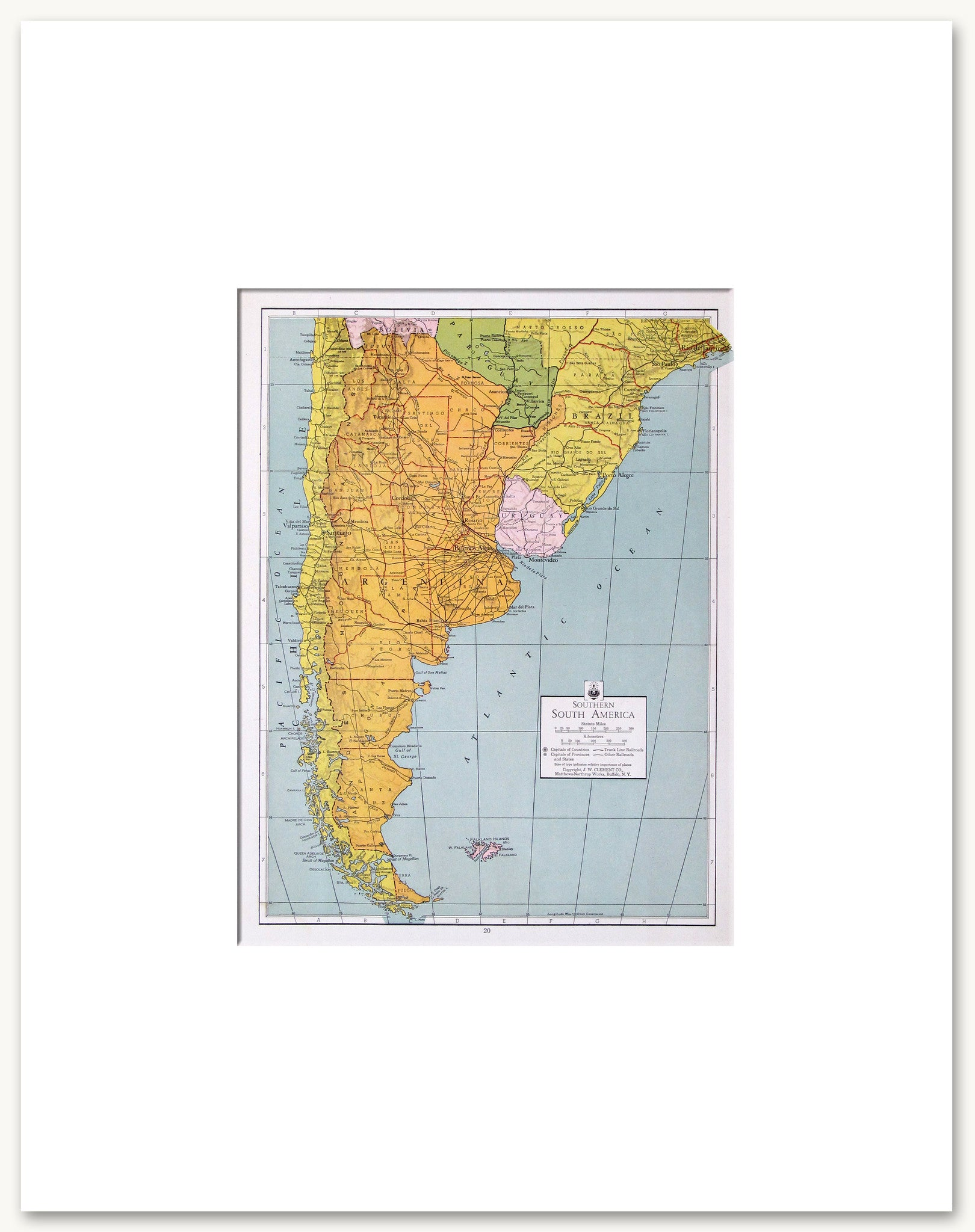 Countries South And Central America Vintage Maps - Argentina map to print