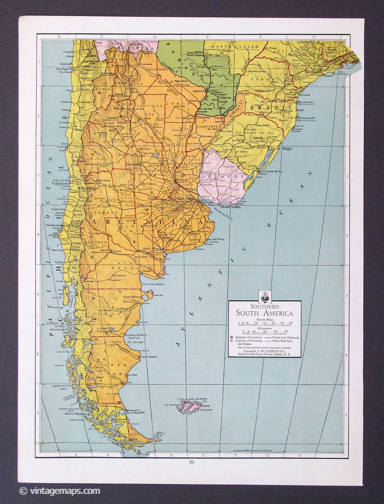 Countries AD Vintage Maps - Argentina map to print