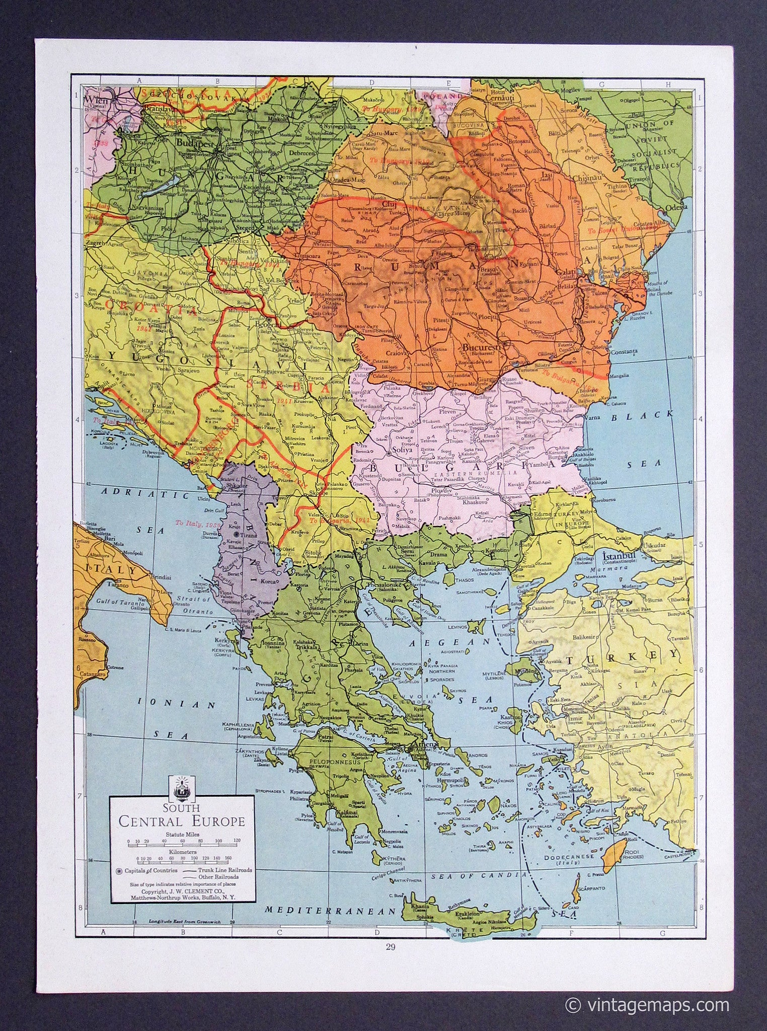 South Central Europe 1943 - Vintage Maps