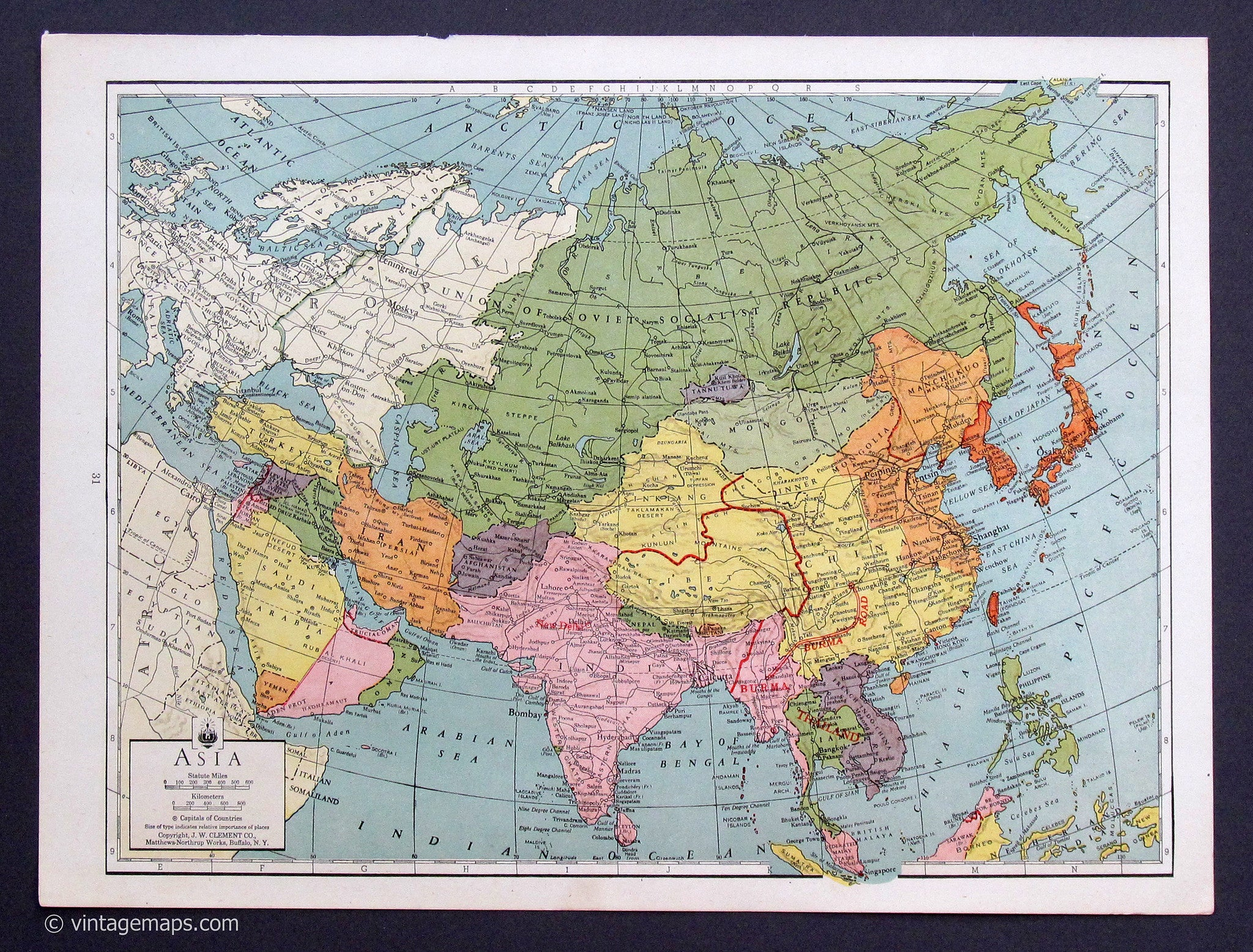 Map Of Asia To Print.Asia 1943 Vintage Maps