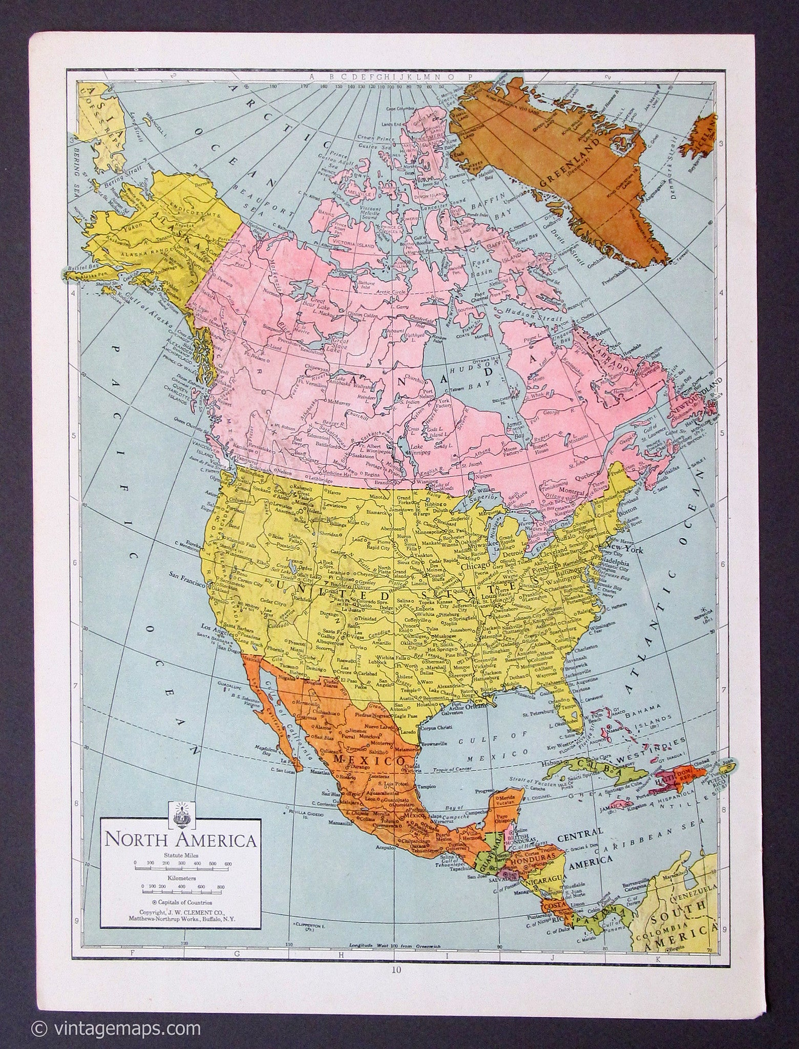 vintage original north america map print