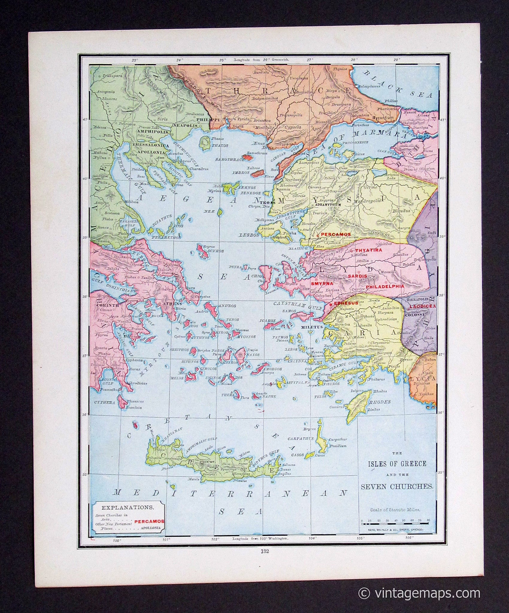 photograph relating to Printable Map of Ancient Greece titled Historical Greece and the 7 Church buildings (Biblical Background) 1908