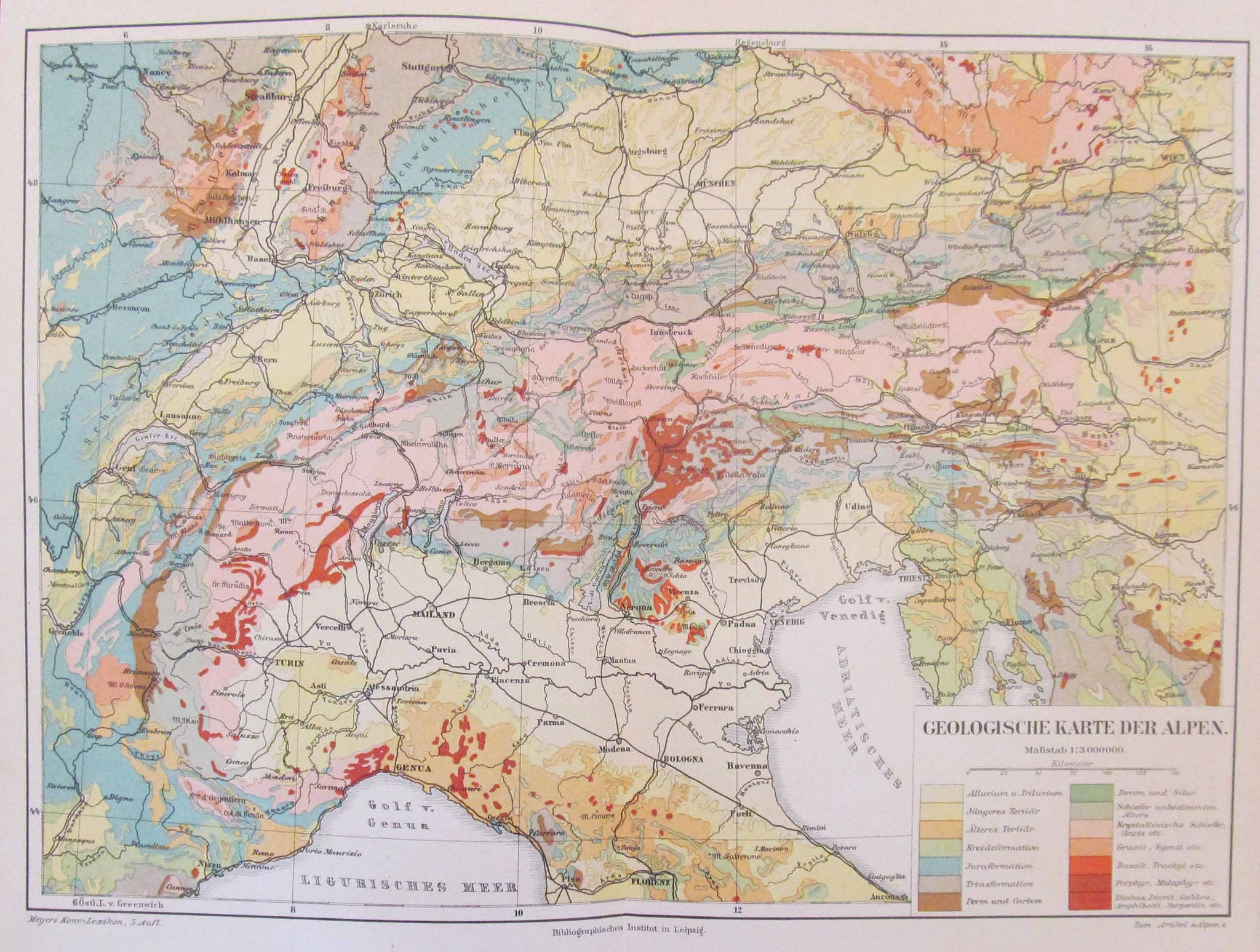 Geologic Map Of Northern Italy Vintage Maps