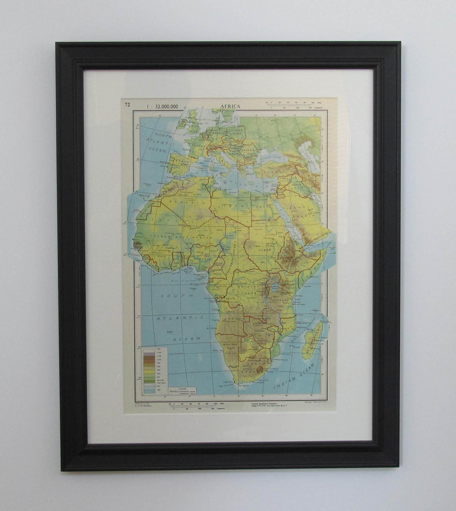 Frameable World Map.Original Vintage Maps Frameable Maps For Home Office Decor