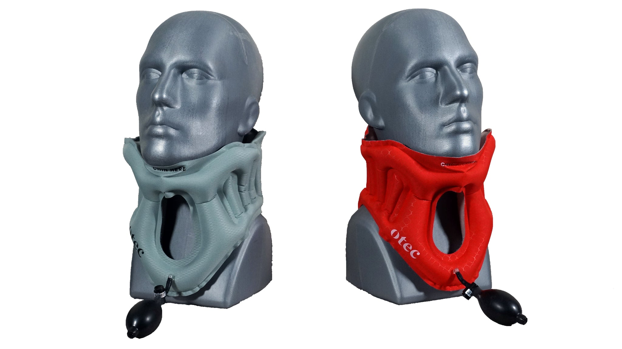 Inflated AER Cervical Collar in gray and red