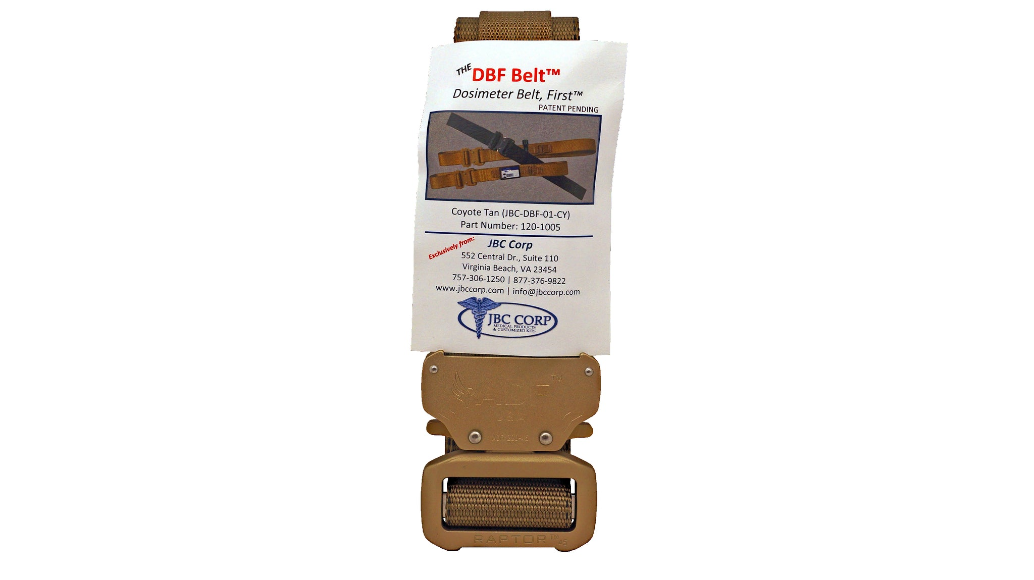 Tan/Coyote rigger's style belt with added nylon loop and metal hook to secure a ThermoLuminescent Dosimeter or TLD