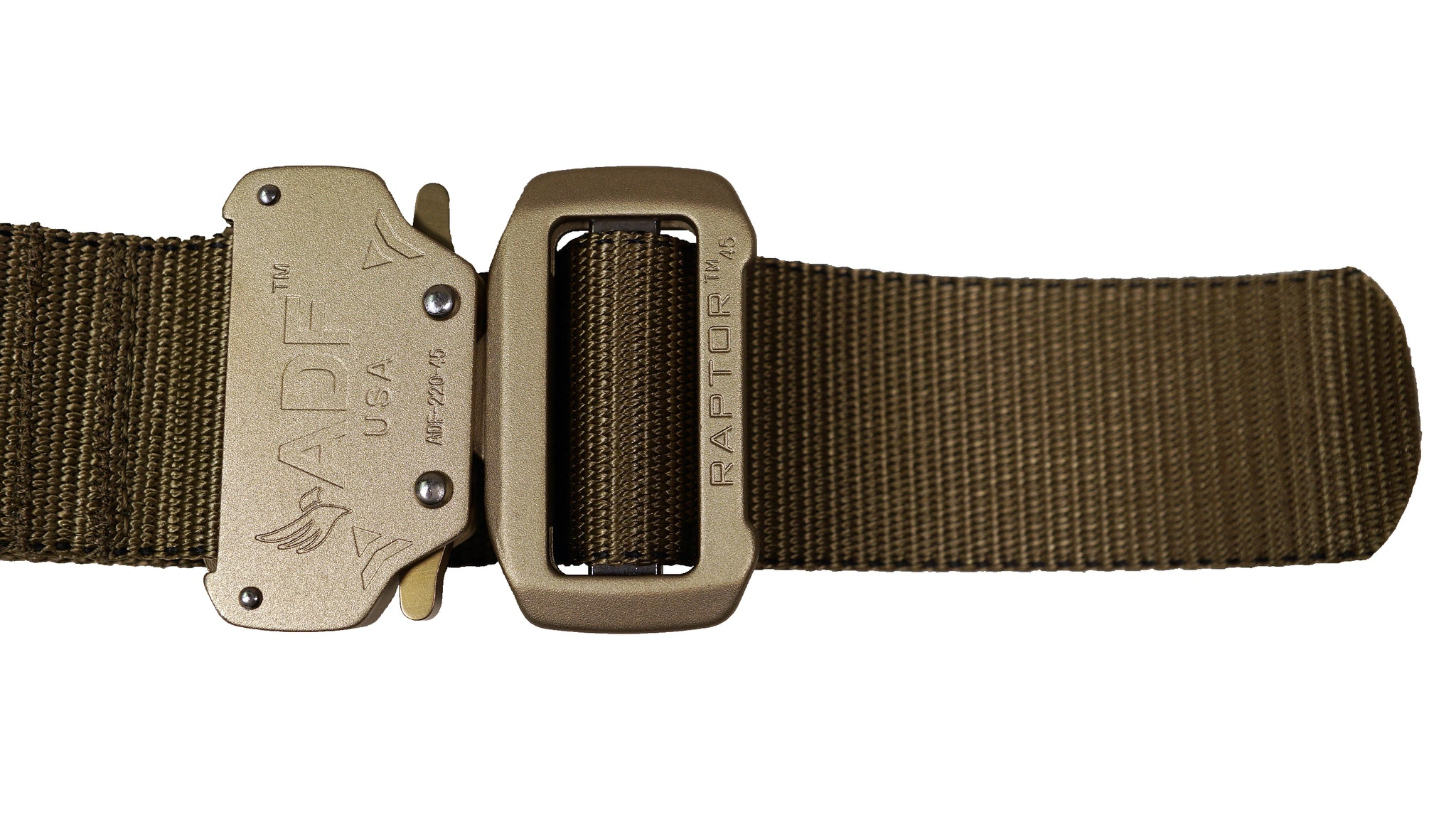Tan/Coyote DBF Belt: Zoomed-in view of Raptor buckle with rivets and quick release latches.