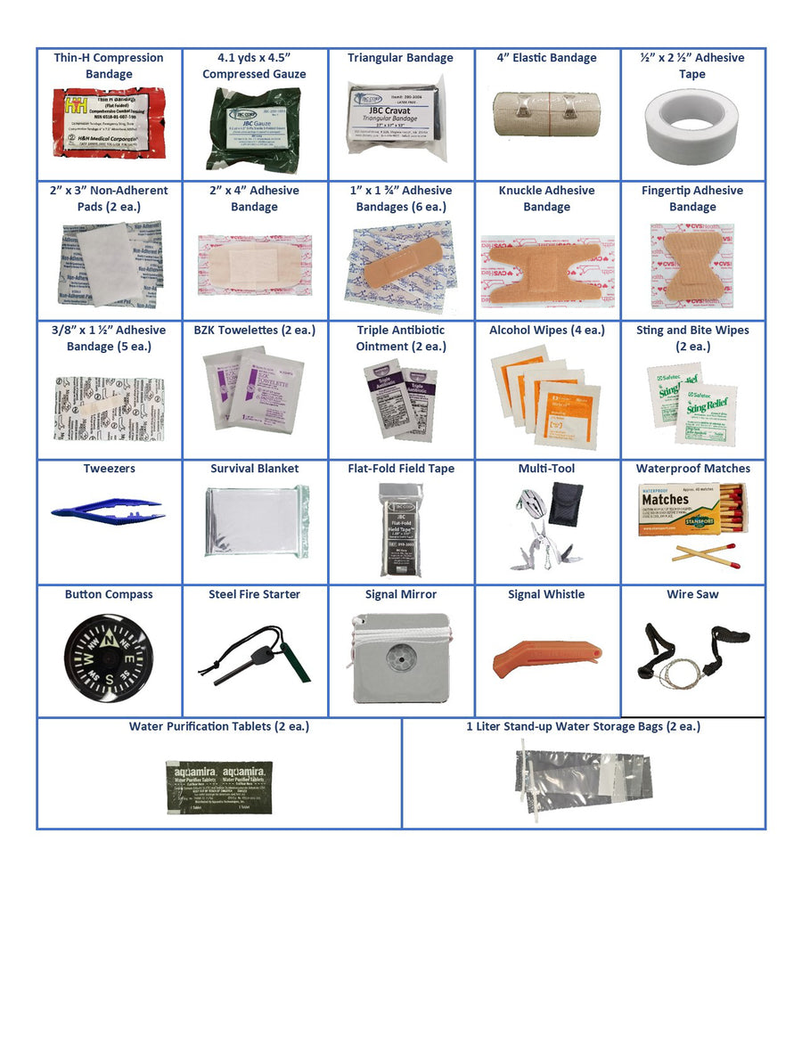 A picture of the JBC Survival/First Aid Kit open showing how the contents are packaged
