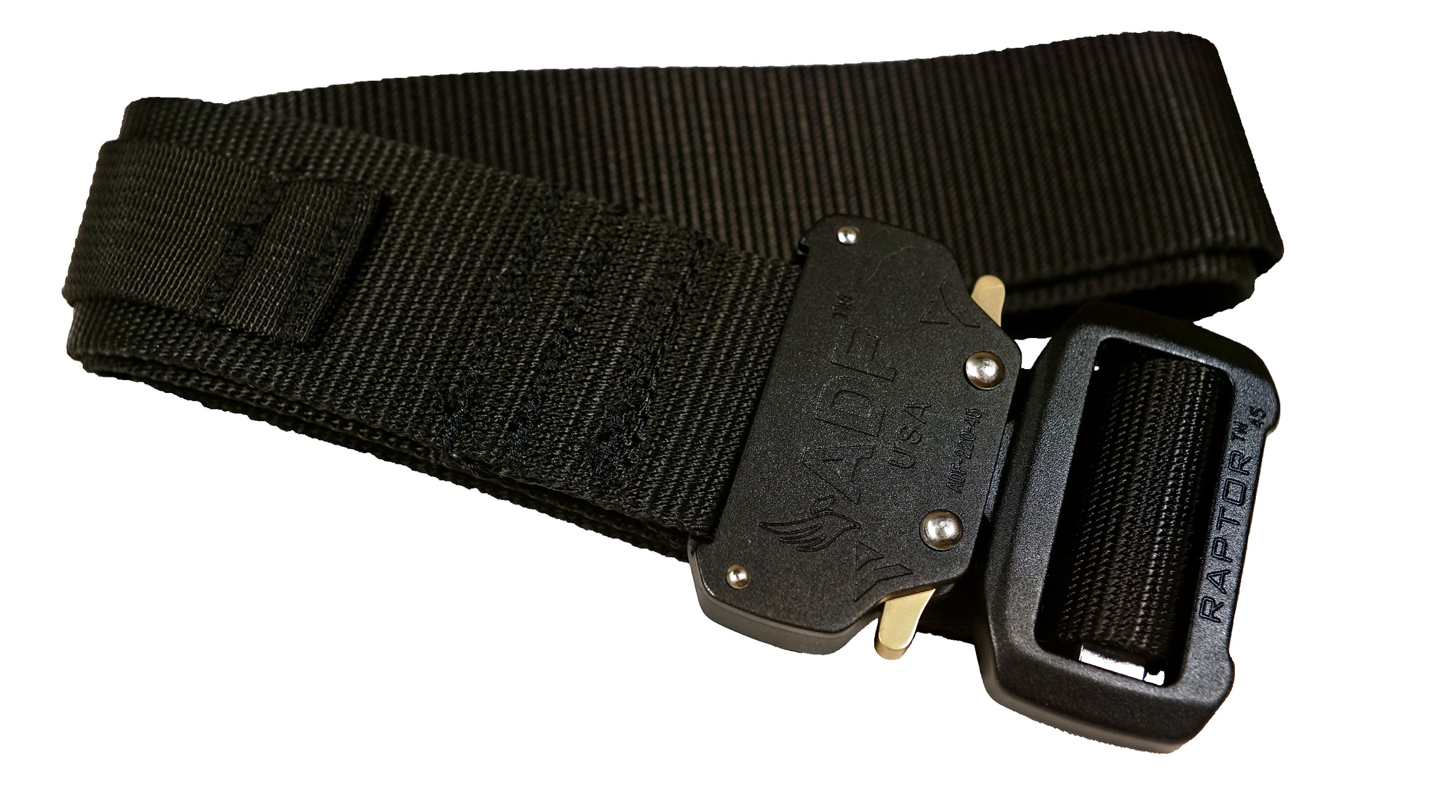 Black rigger's style belt with added nylon loop and metal hook to secure a ThermoLuminescent Dosimeter or TLD.