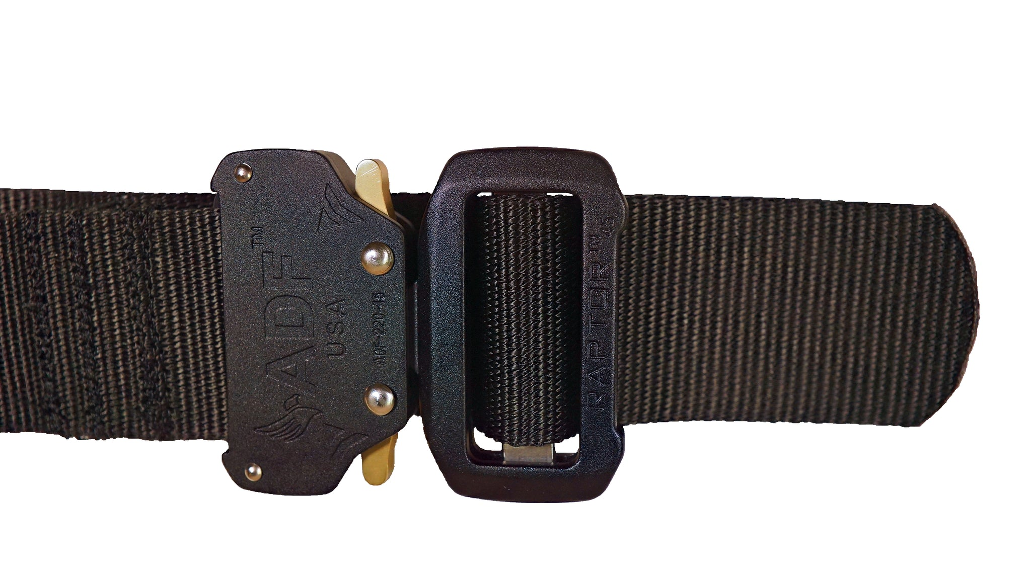 Black DBF Belt: Zoomed-in view of Raptor buckle with rivets and quick-release latches