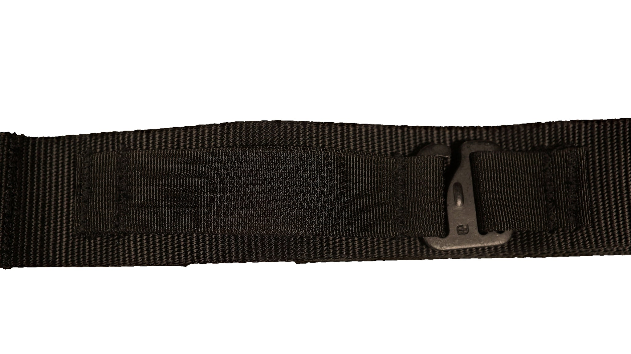 Black DBF Belt: Zoomed-in image of nylon loop and metal hook designed to securely fix a TLD in place.