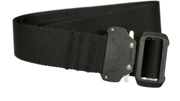 Black lightweight military-style tactical belt with quick release double-locking buckle.