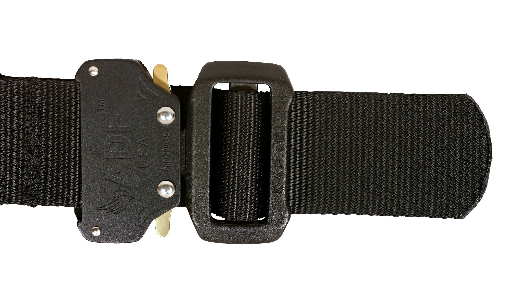 Black JBC WEB Belt: Zoomed-in view of Raptor buckle with quick release latches