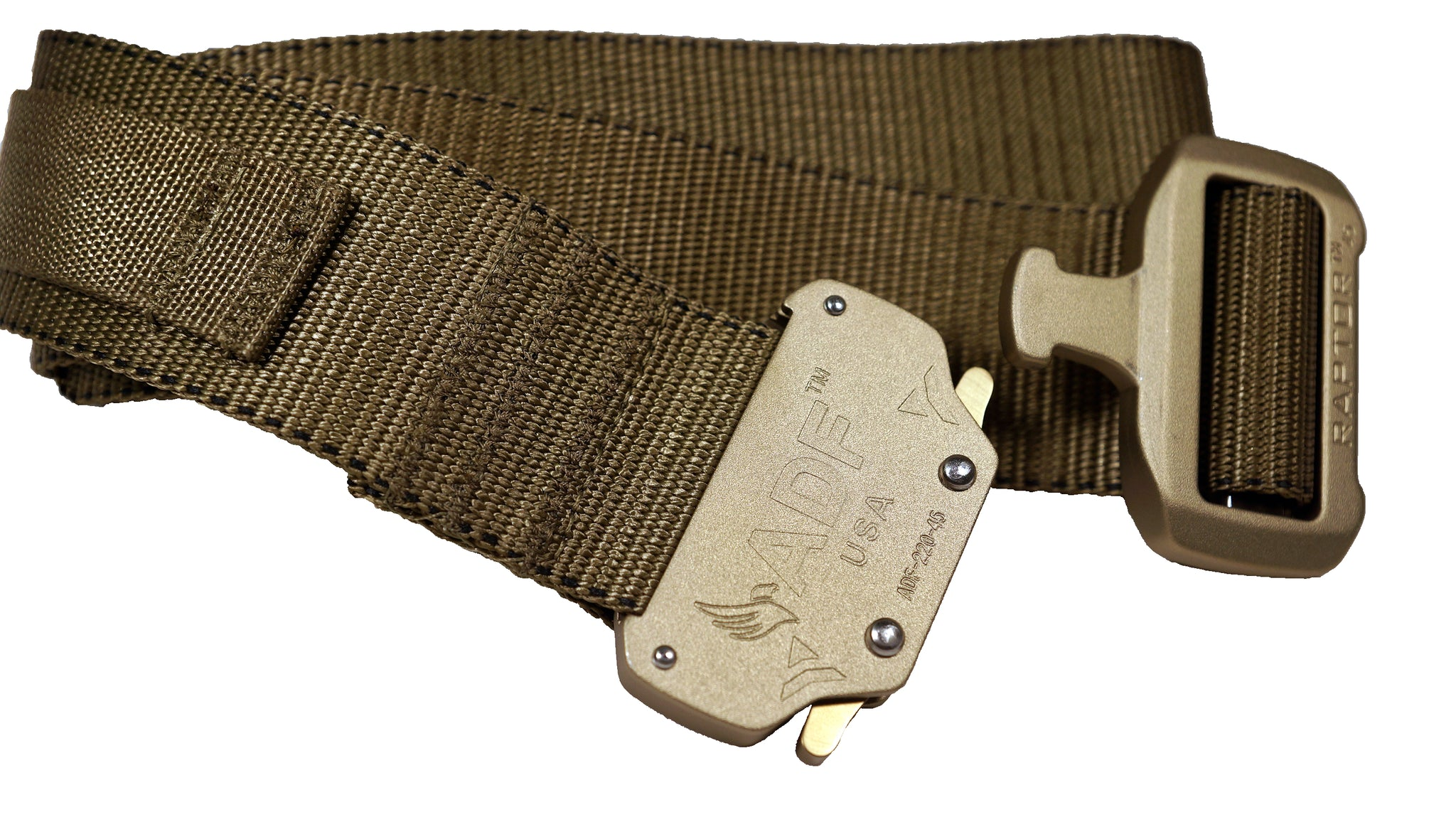 Tan/Coyote rigger's style belt with added nylon loop and metal hook to secure a ThermoLuminescent Dosimeter or TLD.