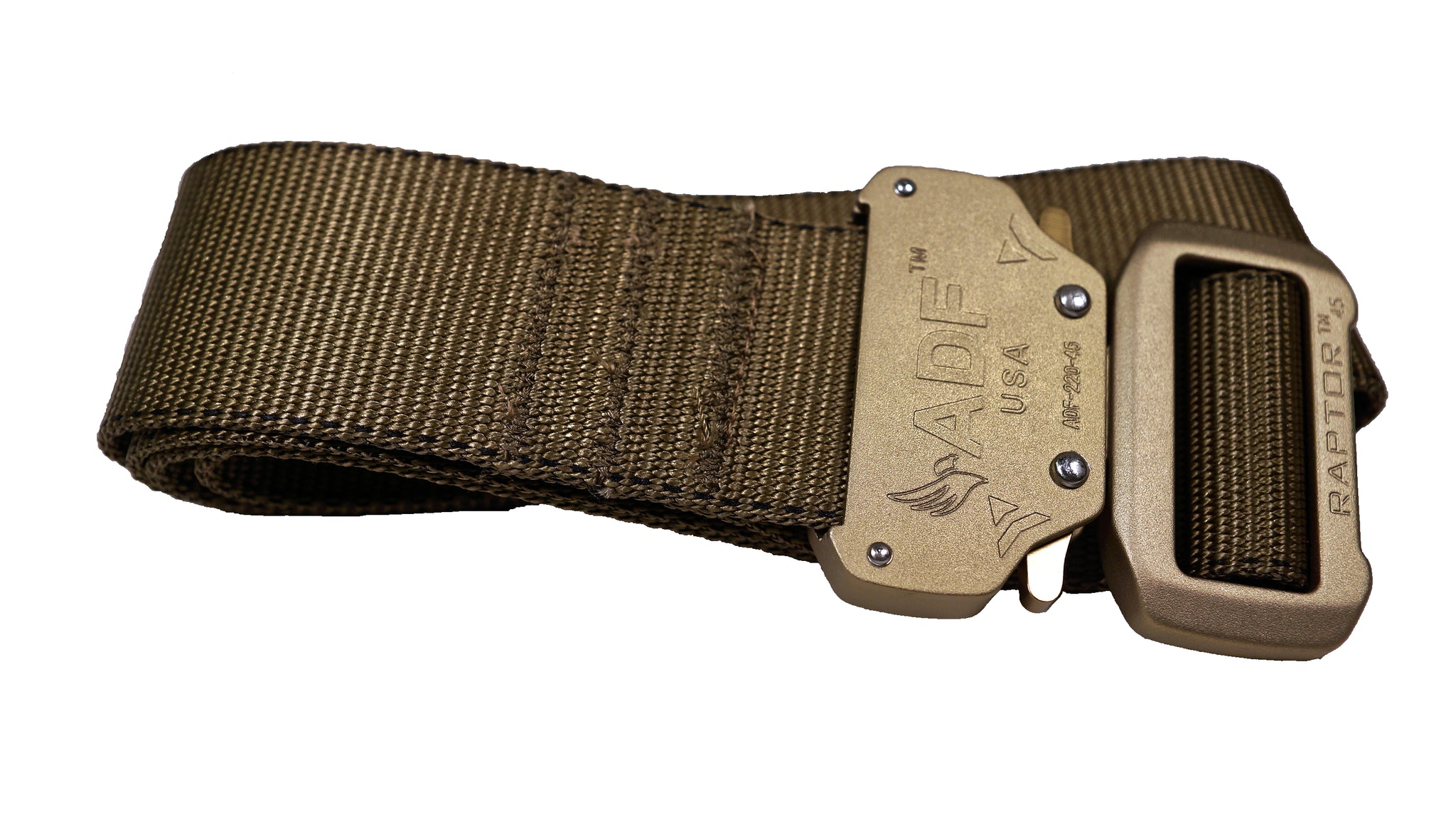 Tan/Coyote lightweight military-style tactical belt with quick release double-locking buckle.