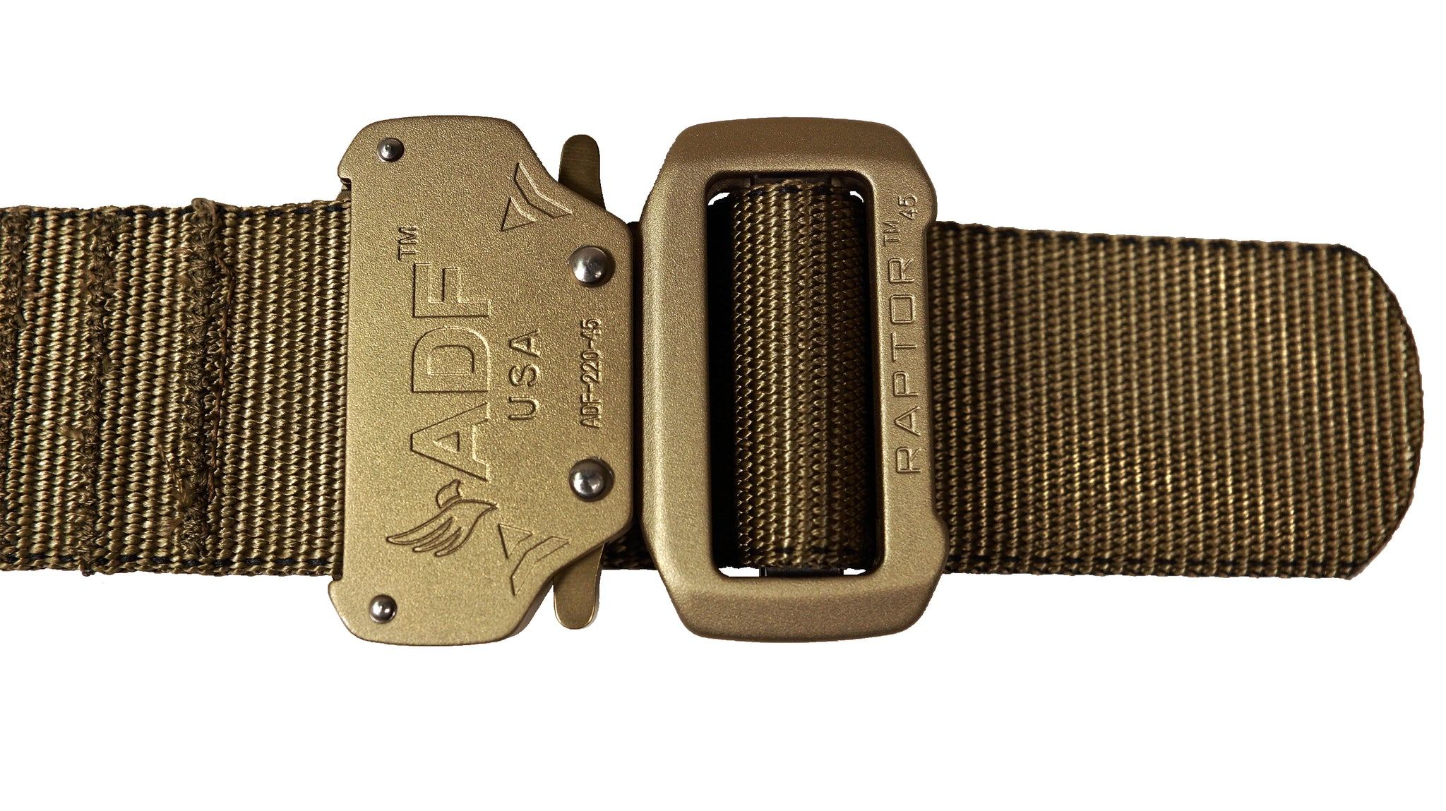 Coyote JBC WEB Belt: Zoomed-in view of Raptor buckle with quick release latches