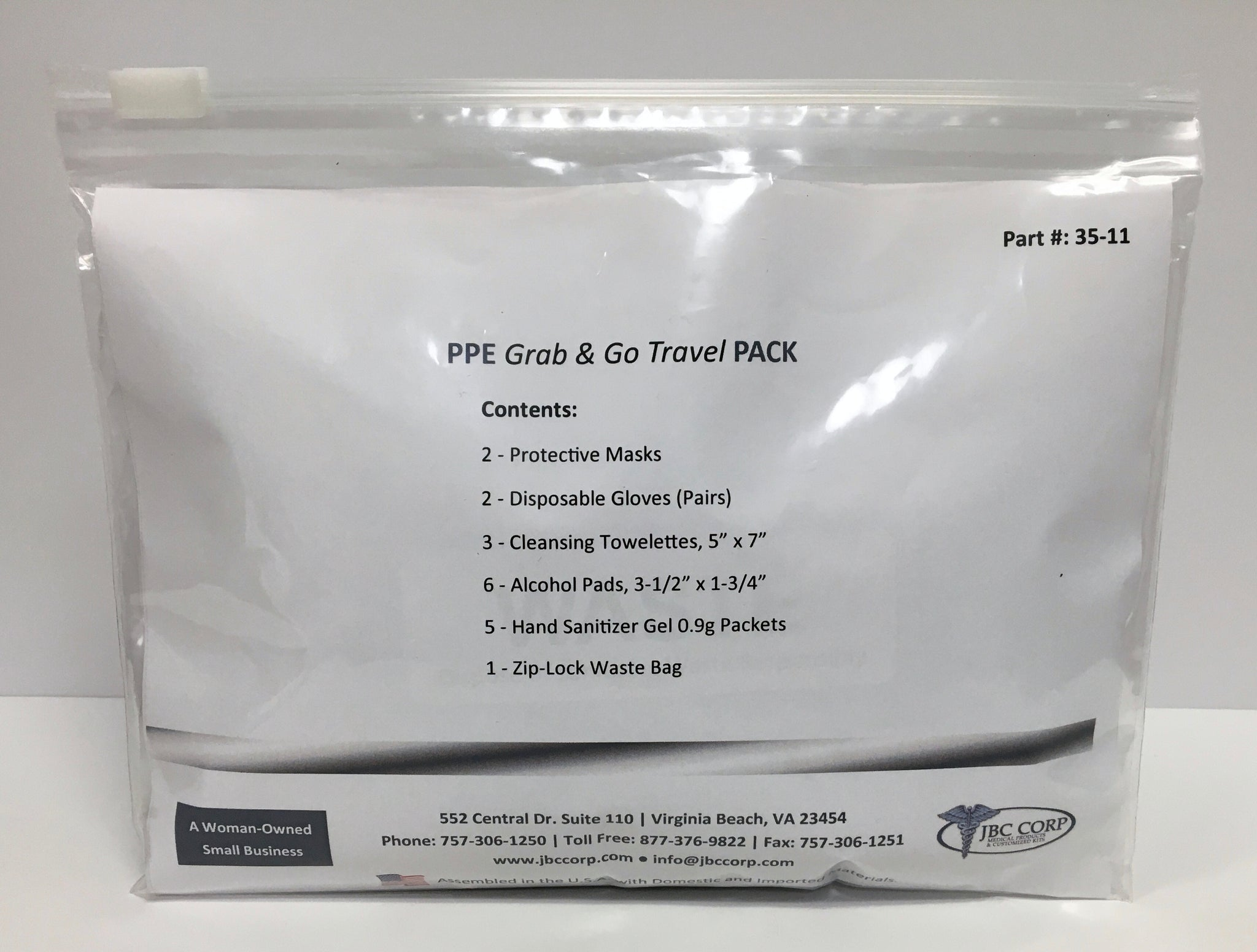 Personal Protective Equipment Travel Pack with Level 1 Protective Face Mask, Gloves, Hand Sanitizer Packets, Cleansing Towelettes, Alcohol Pads, and Waste Bag.