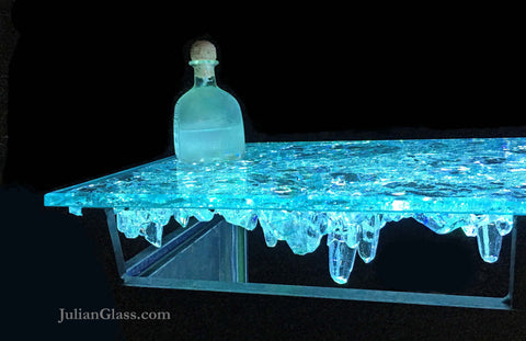 Table Crysta Stalactite with Aquamarine underlighting.