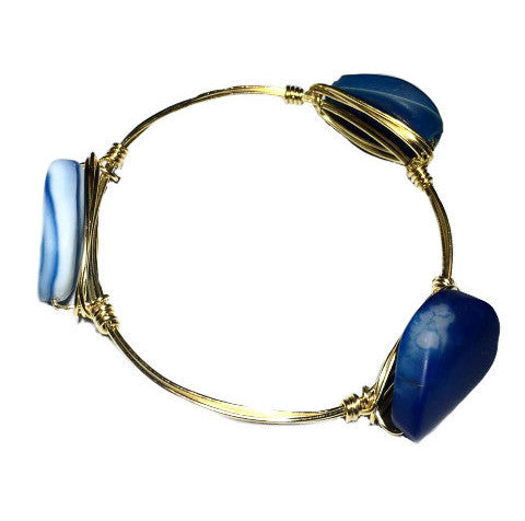 Wire Wrapped Blue Agate Stone Bracelet