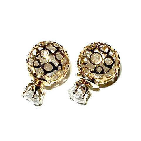Circone/Gold Crystal Double Earrings
