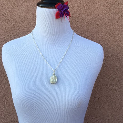 Wire Wrapped White Stone Silver Necklace