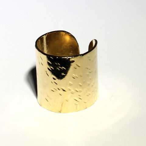 Adjustable Wide Gold Tube Ring