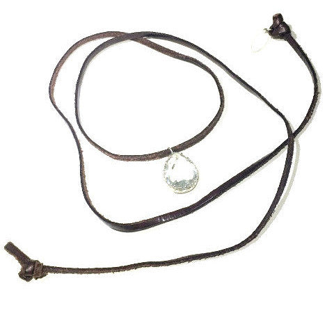 Leather Wrap Choker w/pendant