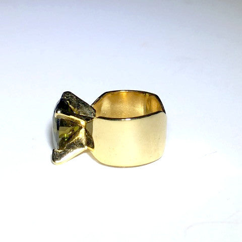 Green Cubic Zirconia Gold Ring