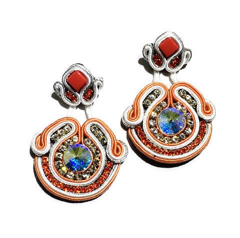 Long Soutache Orange & White Earrings