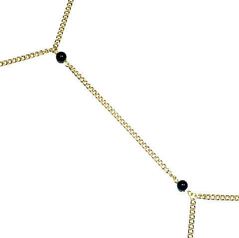 Coral, onyx or Czech crystal (s) beads Gold Body Chain