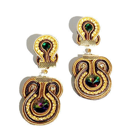 Long Soutache Yellow & Brown Earrings