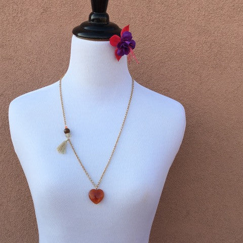 Fire Agate Long Pendant Necklace