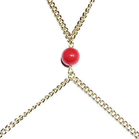 Coral (M) bead Gold Body Chain