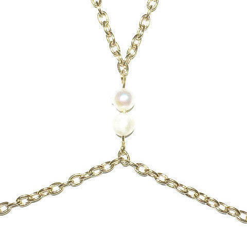 Cultured Pearls Gold Body Chain